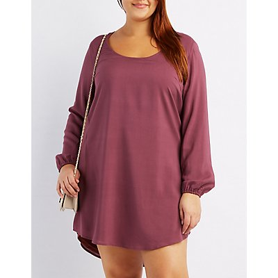 Plus Size Scoop Neck Shift Dress