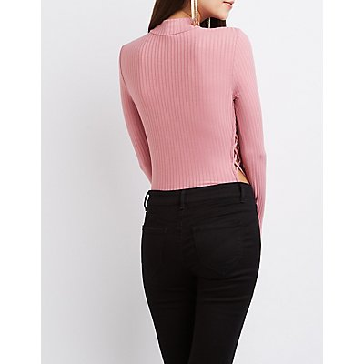 Lattice-Inset Mock Neck Bodysuit