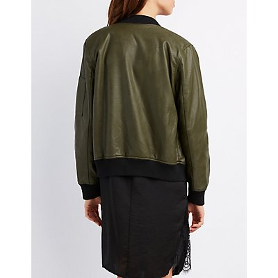 Faux Leather Sherpa-Lined Bomber Jacket