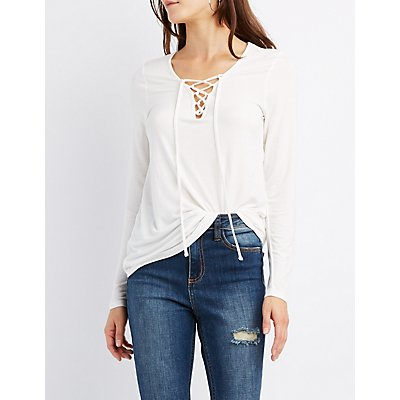 Lace-Up V-Neck Tee