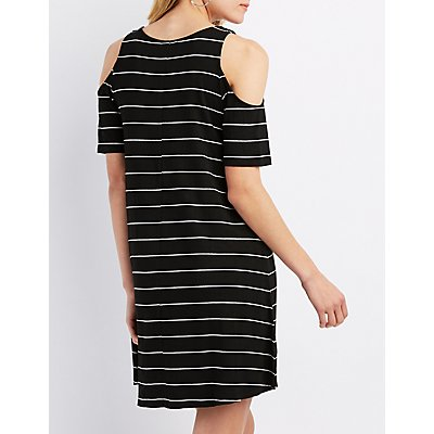 Striped Cold Shoulder Swing Dress