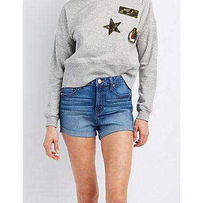 Refuge Hi-Rise Cuffed Denim Shorts