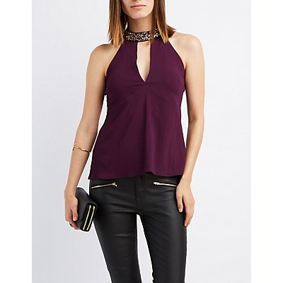 Embellished Mock Neck Strappy Top