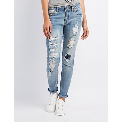 Distressed Skinny Boyfriend Jeans