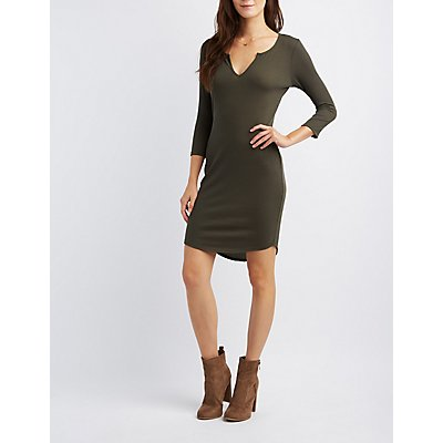 Ribbed Split Neck Bodycon Dress