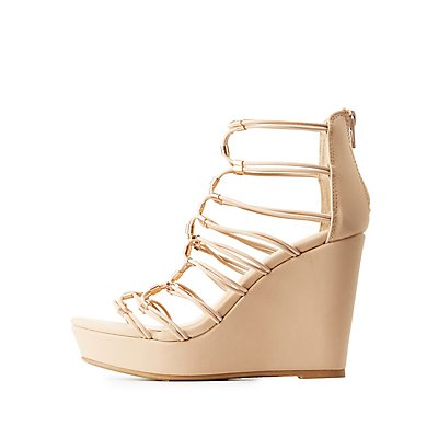 Bamboo Caged Wedge Sandals