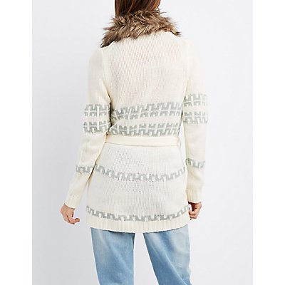 Faux Fur-Collar Aztec Belted Cardigan