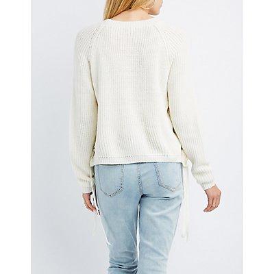 Shaker Stitch Lace-Up Sweater