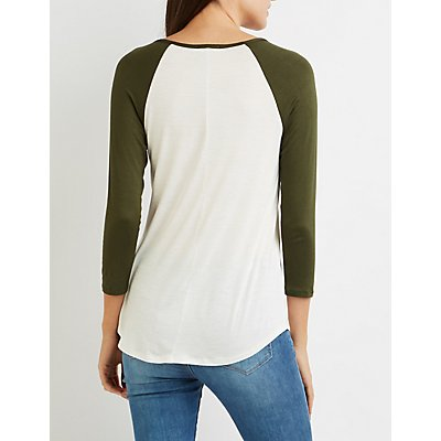 Split Neck Baseball Tee