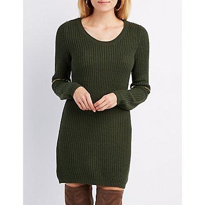 Shaker Stitch Zipper-Trim Sweater Tunic