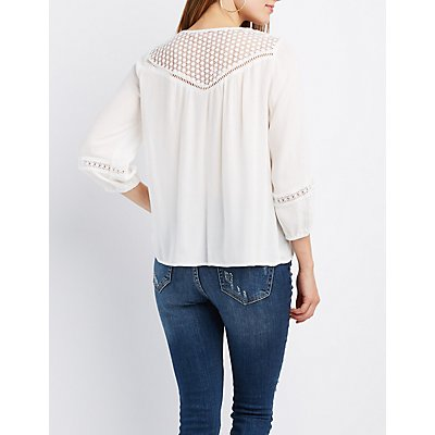 Crochet-Trim Split Neck Blouse