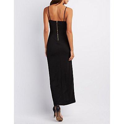 Wrap-Front Asymmetrical Maxi Dress