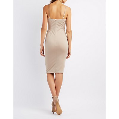 Lattice-Front Bodycon Midi Dress