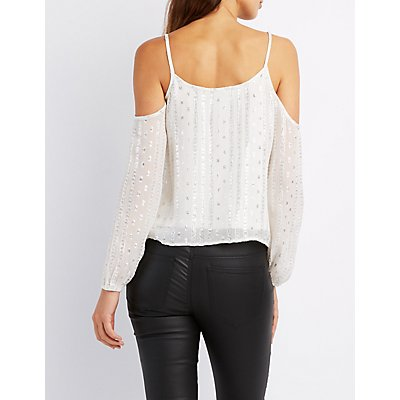 Metallic Embroidered Cold Shoulder Top