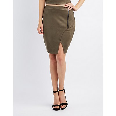 Faux Suede Envelope Pencil Skirt