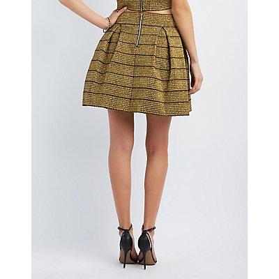 Metallic Bandage Skater Skirt