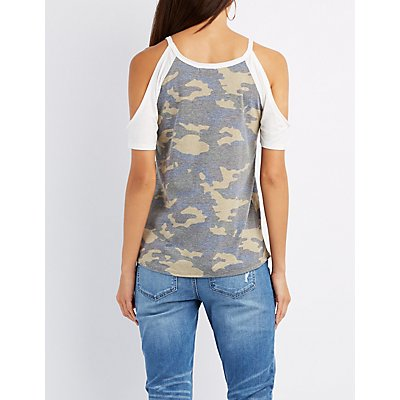 Snap Game Camo Cold Shoulder Tee