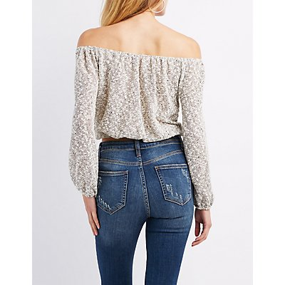 Marled Off-The-Shoulder Crop Top