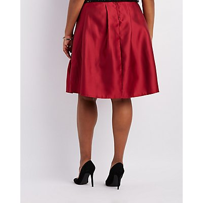 Plus Size Satin Pleated Midi Skirt
