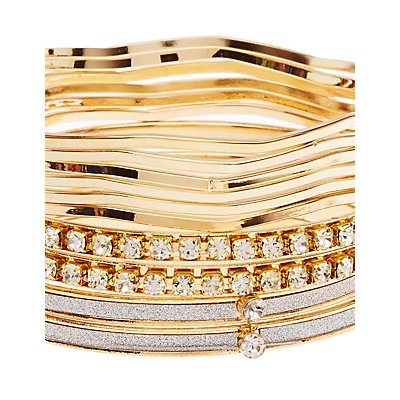 Glitter & Embellished Bangle Bracelets - 10 Pack