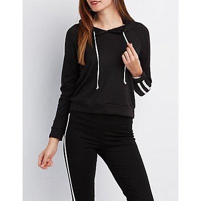 Varsity Stripe Cropped Hoodie