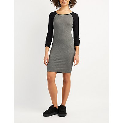 Raglan Lattice-Back Bodycon Dress
