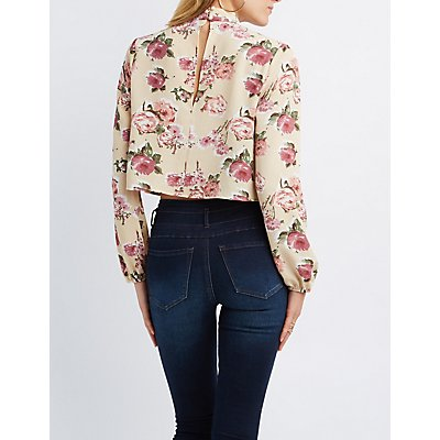 Floral Cut-Out Mock Neck Crop Top