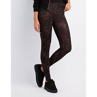 High-Waisted Stretch Cotton Floral Leggings