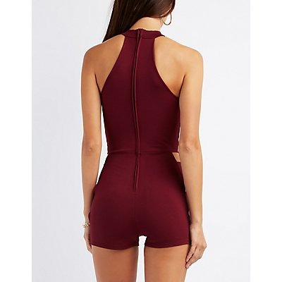 Mock Neck Caged-Sides Romper