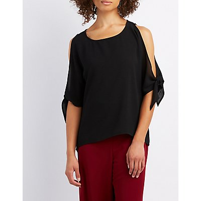 Tied Split Sleeve Top