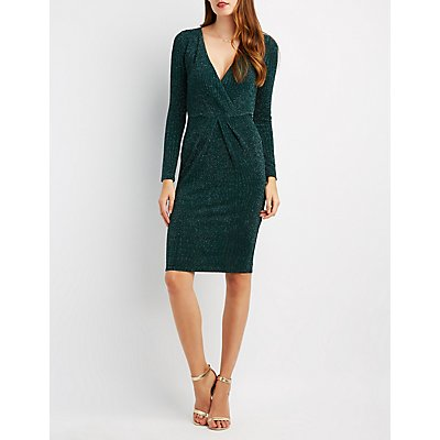 Shimmer Surplice Midi Dress