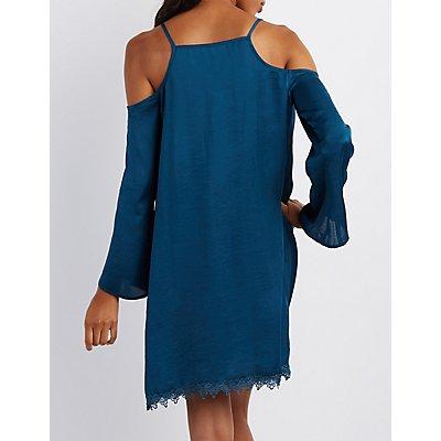 Crochet-Trim Cold Shoulder Shift Dress