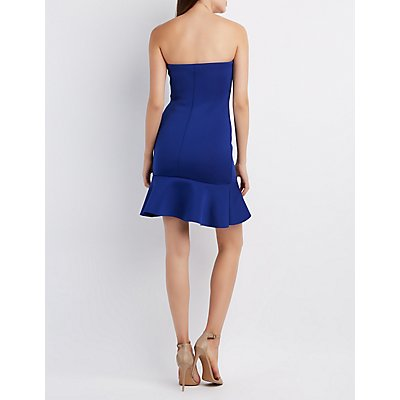 Flounced Strapless Bodycon Dress