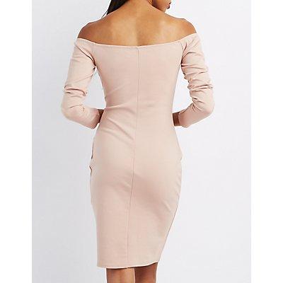 Off-The-Shoulder Lace-Up Dress