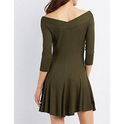 Ribbed V-Neck Swing Dress