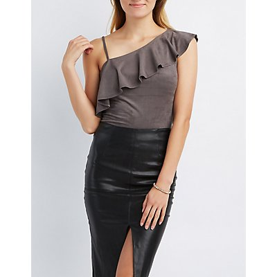Faux Suede Ruffle Strap Top