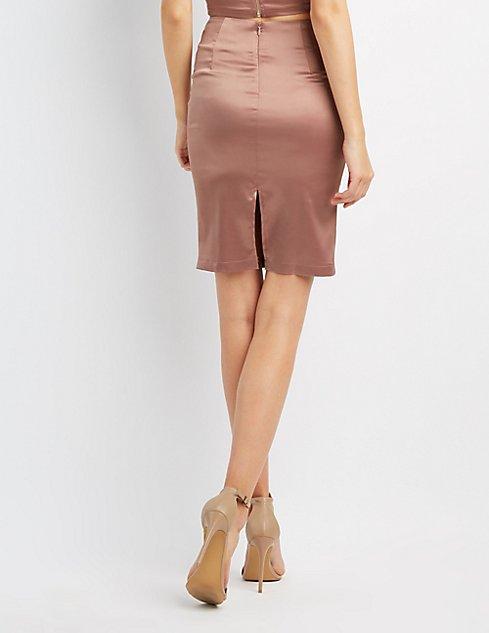 Satin Pencil Skirt | Charlotte Russe