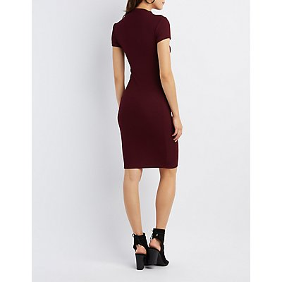 Ribbed Mock Neck Midi Dress