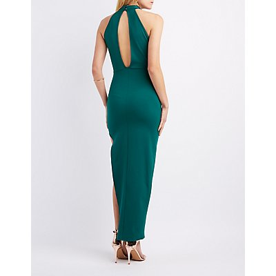 Metal Neck Asymmetrical Maxi Dress