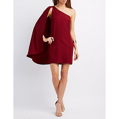 One-Shoulder Cape Dress