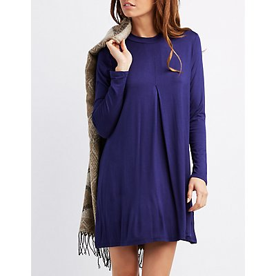 Mock Neck Long Sleeve Swing Dress