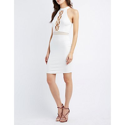 Lattice Mesh-Trim Bodycon Dress