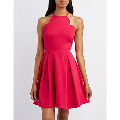 Scalloped Bib Neck Skater Dress