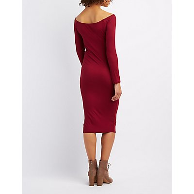Ribbed Off-The-Shoulder Midi Dress