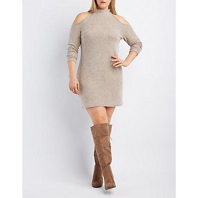 Plus Size Fuzzy Knit Cold Shoulder Dress