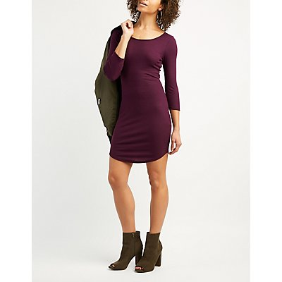 Ribbed Cut-Out Back Bodycon Dress