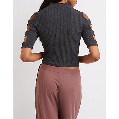 Caged-Sleeve Mock Neck Crop Top