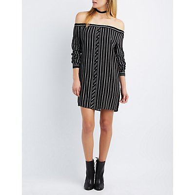 Printed Off-The-Shoulder Button-Up Dress