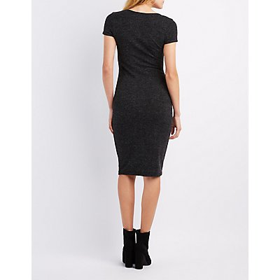 Marled Scoop Neck Midi Dress