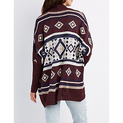 Aztec Print Cocoon Cardigan